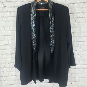 J.R. Nites | Black Sequin Collar Blazer Size 15/16